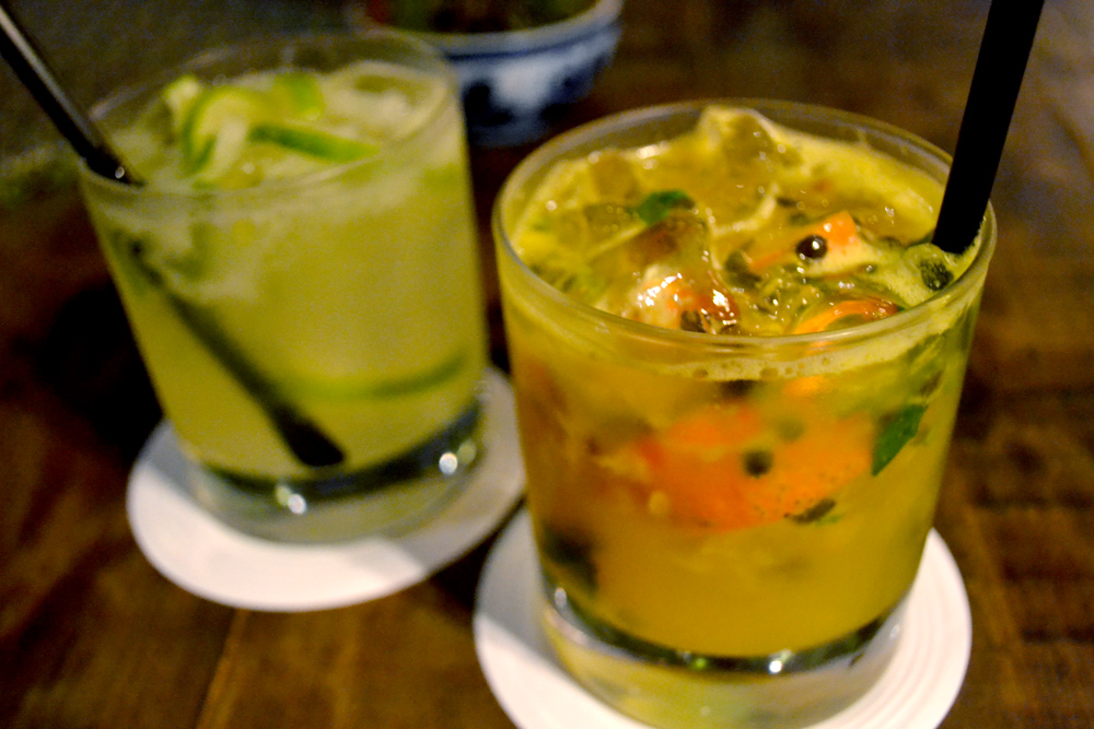 ... is a traditional caipirinha ; right is a passion fruit caipirinha